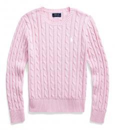 Ralph Lauren Girls Carmel Pink Cable-Knit Sweater