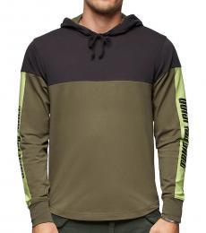 Olive Hooded Long Sleeve Shirt