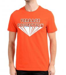 Versace Collection Red Iridescent Logo T-Shirt