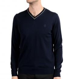 Dark Blue Wool V-Neck Sweater