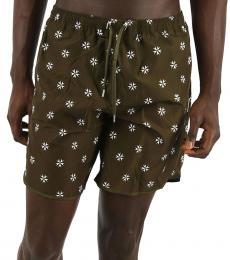 Neil Barrett Olive Printed Boxer Beachwear