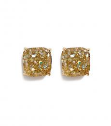 Kate Spade Gold Opal Multi Mini Square Stud Earrings