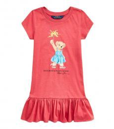 Ralph Lauren Little Girls Nantucket Red Sparkler Bear Dress