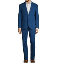 Karl Lagerfeld Blue Regular-Fit Wool Suit