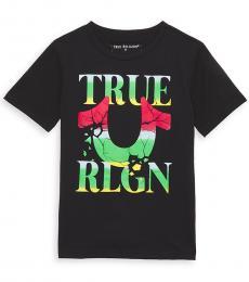 True Religion Boys Black Cracked Logo T-Shirt