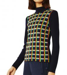 Tory Burch Navy Blue Ribbed Turtleneck Pullover