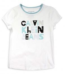 Calvin Klein Girls White Knockout Heart Logo T-Shirt