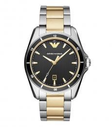 Emporio Armani Gold-Silver Black Dial Watch