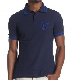 Navy Blue Logo Trim Polo