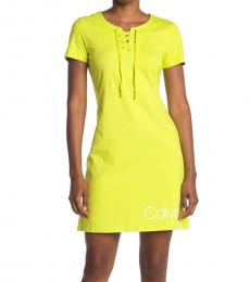 Calvin Klein Limeade Logo Lace-Up T-Shirt Dress