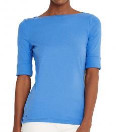 Ralph Lauren Captain Blue Cotton-Blend Boatneck Top
