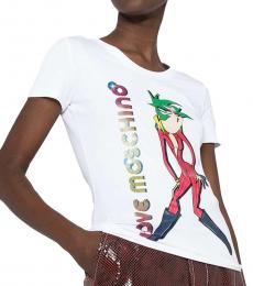 Love Moschino White Printed Logo T-Shirt