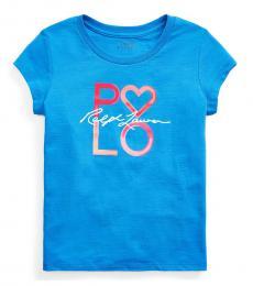 Ralph Lauren Girls Blue Logo Cotton Jersey T-Shirt