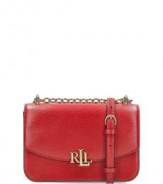 Ralph Lauren Red Madison Convertible Small Shoulder Bag