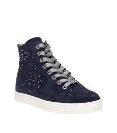 Hogan Blue Suede High Top Sneakers