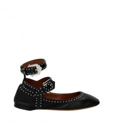 Black Dual Buckle Ballerinas