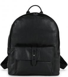 Cole Haan Black Flap Pocket Large Backpack