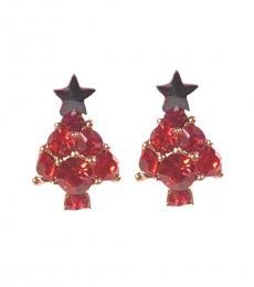 Red Stylish Christmas Tree Earrings