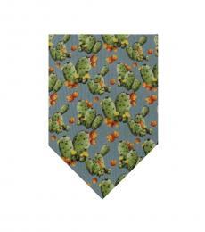 Blue Cactus Print Tie
