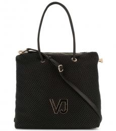 Versace Jeans Black Pleated Large Tote