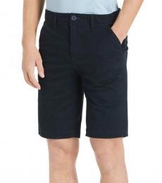 Peacoat Twill Flat Front Shorts