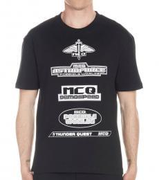 McQ Alexander McQueen Black Allover Logo T-Shirt