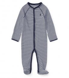 Baby Boys Navy Striped Jersey Coverall