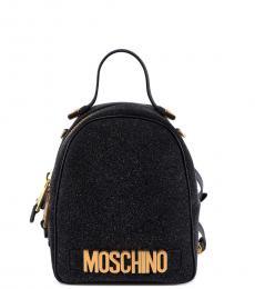 Moschino Black Glitter Small Backpack