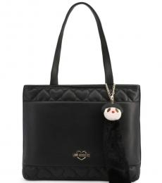 Love Moschino Black Embossed Heart Large Tote