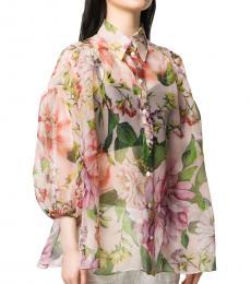 Multi color Floral Print Organza Shirt