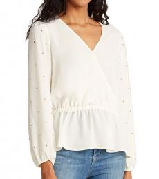 Off White Surplice Front Peplum Blouse