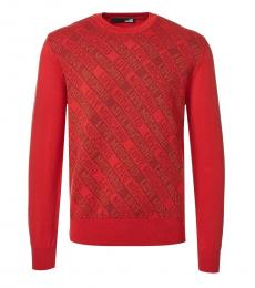 Red Allover Logo Sweater