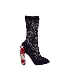 Black Socks Floral Boots