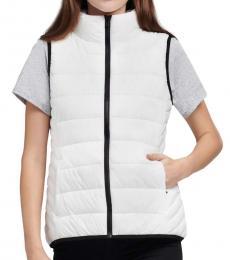 DKNY White Funnel Neck Puffer Vest