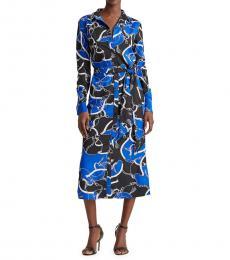 Ralph Lauren Blue Glacier Belted Graphic Shirtdress