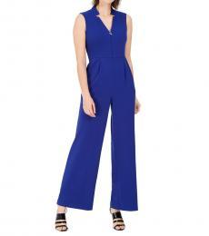 Calvin Klein Royal Blue Star-Neck Crepe Jumpsuit