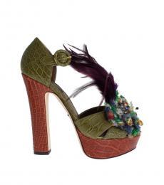 Dolce & Gabbana Green Brown Feather Pumps