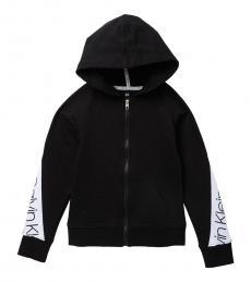 Girls Black Logo Bold Zip Hoodie
