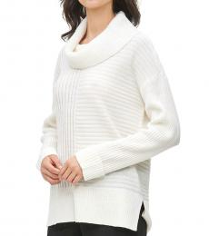 Calvin Klein White Cowl Neck Mixed Ribbed Sweater