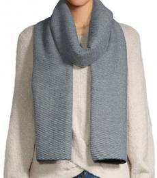 Heathered Grey Pleated Double-Faced Blanket Scarf