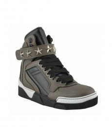 Grey Leather Hi-Top Sneakers
