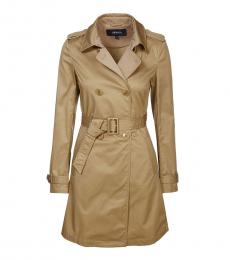 Armani Jeans Camel Polo Collar Trench Coat