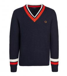 Fred Perry Dark Blue V-Neck Kniited Sweater