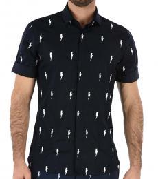 Neil Barrett Dark Blue Short Sleeve Slim Fit Shirt