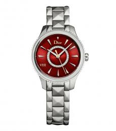 Silver Red Dial Watch
