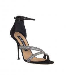 Black Rhinestone Strap Heels
