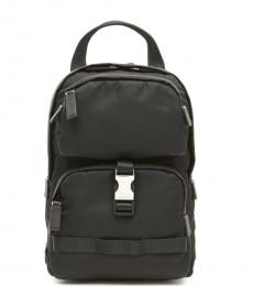 Prada Black Logo Medium Backpack