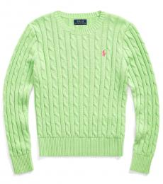 Ralph Lauren Girls Key Lime Cable-Knit Sweater