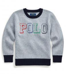 Little Boys Light Grey Heather Logo Sweater