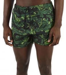 Neil Barrett Dark Green Printed Boxer Beachwear